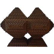 Antique Tramp Art Double Pyramid Box on Pedestal Base