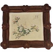 Large Antique Tramp Art Chip Carved Picture Frame with 8 Hearts, c. Late 1800s