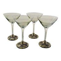 St John Martini Glasses with Enameled, Jeweled Base, Set of 4