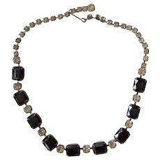 Vintage Sapphire Rhinestone Choker Necklace