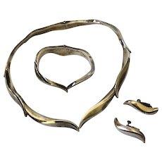 RIC Erika Hult de Corral Mexican Modernist Silver Wave Necklace, Bracelet, Earrings Set: RARE