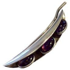 Antonio Pineda Taxco 970 Silver Peapod Pin with Amethyst Cabochon Peas, c. 1950