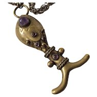 RARE Hubert Harmon Taxco Whale Pendant Necklace with Amethyst Cabochons