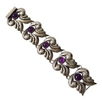 Early Mexican Sterling Silver and Amethyst Bracelet, c. 1930s