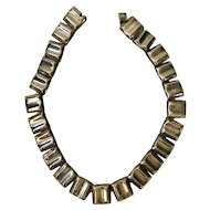 Taxco Modernist Sterling Silver Rectangular Link Necklace, 98 grams