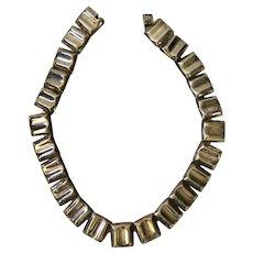 Taxco Modernist Sterling Silver Rectangular Link Necklace, 98 grams