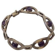Taxco Modernist Sterling Silver and Amethyst Link Bracelet