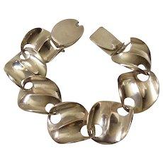 Taxco Modernist Sterling Silver Wavy Wafer Link Bracelet by Molina