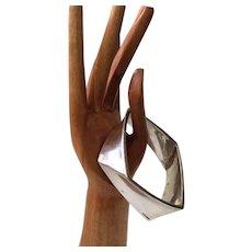 Modernist Sculptural Sterling Silver Geometric Angled Bangle Bracelet