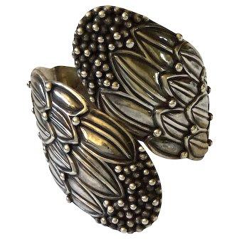Hilario Lopez Sterling Silver Repoussé Corn Flower Clamper Bracelet from Margot de Taxco Original Molds