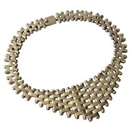 166 Gr Mexican Modernist Sterling Silver Bib Necklace