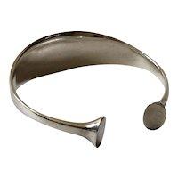 Georg Jensen Denmark Sculptural Modernist Sterling Silver Cuff Bracelet #243, Bent Gabrielsen Design c. 1960