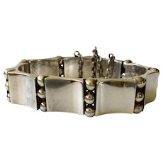 """1940s Hector Aguilar Taxco Handwrought 940 Silver """"Book and Beads"""" Bracelet, BOOK PIECE"""