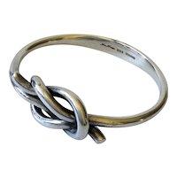 Hans Hansen Denmark Modernist Sterling Silver Knot Bangle Bracelet