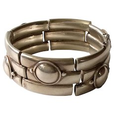 William Spratling Taxco Iconic Sterling Silver Double Bamboo Bracelet c. 1956-1962, BOOK PIECE