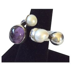 Signed Rachel Gera Abstract Modernist Sterling Silver Ring with Amethyst and Freshwater Pearls