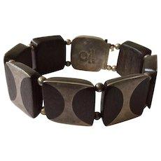 RARE Los Castillo Taxco Modernist Sterling Silver and Ebony Wood Bracelet, c. 1940s