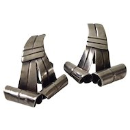 William Spratling Taxco Modernist Sterling Silver Ribbon Earrings