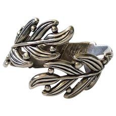 Hilario Lopez Sterling Silver Leaf and Berry Clamper Bracelet, Margot de Taxco Design
