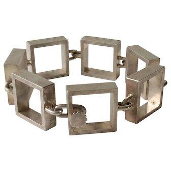 RARE Hans Hansen Denmark MidCentury Sculptural Sterling Silver Square Link Bracelet, Bent Gabrielsen Design