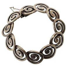 Los Castillo Taxco Handwrought Sterling Silver Swirl Bracelet 317A
