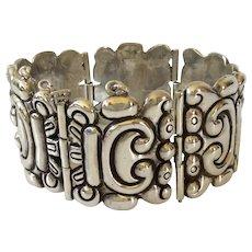 RARE Los Castillo Taxco 980 Silver Handwrought  Repoussé Glyph Bracelet # 156, c. 1940