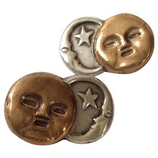 RARE William Spratling Taxco Sterling Silver and Copper Celestial Sun and Moon Earrings, BOOK PIECE
