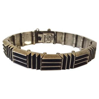 RARE Antonio Pineda Taxco 970 Silver Modernist Incised Bars Bracelet