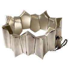 Mexican Modernist Sterling Silver Zig Zag Bracelet, 108 Grams