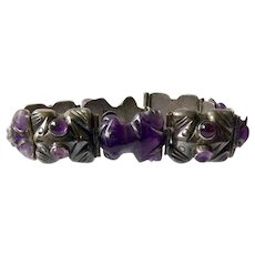 RARE Early Mexican Sterling Silver and Carved Amethyst Frog Link Bracelet, Spratling Design c. 1940