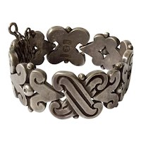 1940s Hector Aguilar Taxco 990 Sterling Silver Handwrought Fertility Bracelet, 106 GR  BOOK PIECE