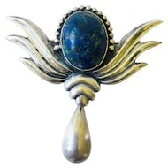 Los Castillo Taxco MidCentury Sterling Silver and Lapis Brooch Pin with Dangle