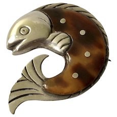 William Spratling Taxco Modernist Sterling Silver Fish Brooch Pin