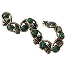 Early Taxco 980 Silver Repouseé Bracelet with Green Onyx Cabochons, c. 1940's