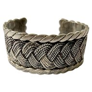 Hector Aguilar Taxco 940 Sterling Silver Braided Cuff Bracelet c 1940, BOOK PIECE