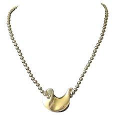 Georg Jensen Denmark Modernist Sterling Silver Dove Pendant on Hematite Bead Necklace, Hans Hansen