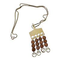 Anna Greta Eker Modernist Sterling Silver and Wood Dangle Pendant Necklace, c. 1960