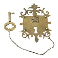 RARE Los Castillo Taxco Sterling Silver Lock and Key Brooch, c. 1940s