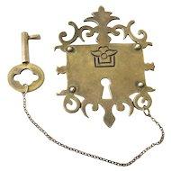 RARE Los Castillo Taxco Sterling Silver Lock and Key Brooch, c. 1940s