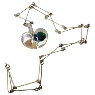 Modernist Lapponia Björn Weckström Space Apple Silver Acrylic Necklace