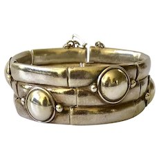 William Spratling Taxco Sterling Silver Double Bamboo Bracelet, BOOK PIECE