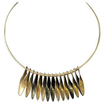 RARE Hans Hansen Denmark Modernist Silver, Gold, Pewter Color Sterling Silver Sculptural Dangle Twist Choker Necklace #361
