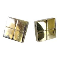 William Spratling Taxco Modernist Sterling Silver Square Earrings c. Early 1940s