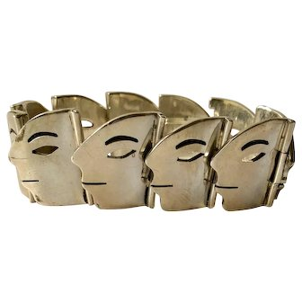 "RARE Taxco Modernist Sterling Silver ""Profiles"" Bracelet, 110 grams"