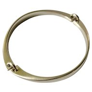 LIKE NEW Hans Hansen Denmark Modernist Sterling Silver Bangle Bracelet in Georg Jensen Gift Box