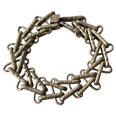 Early Mexican Sterling Silver Modernist V-Chain Bracelet