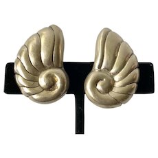William Spratling Taxco Modernist Sterling Silver Shell Earrings c 1940s