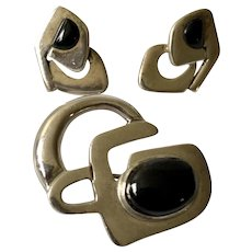 Erika Hult de Corral RIC Mexican Modernist Sterling Silver and Onyx Brooch Pin and Earrings