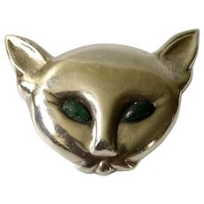 Mexican Modernist Sterling Silver Cat Pin Pendant