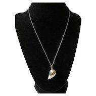 Georg Jensen Denmark Modernist Sterling Silver Abstract Heart Pendant in Gift Box, Jacqueline Rabun Design